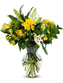 Benchmark Bouquets Blissful Blossoms Yellow, With Vase (Fresh Cut Flowers)