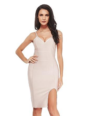 7eb5ecd482c Uniq Sense Women s Sheer Split Side Hem Party Dresses-Rayon Straps Bandage  Bodycon Cocktail Dresses