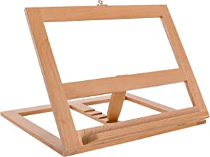 U.S. Art Supply Large Wooden Table Bookrack Easel, Cookbook Stand, Text Book Tablet Rest - Premium Beechwood, Adjustable Incline - Portable Wood Kitchen Countertop Recipe Rack