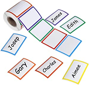 Plain Name Tag Label Stickers 500pcs Colorful Large Border Self-Adhesive Nametags Kid Identification Stickers for School, Parties, Clothes, Jars, Desk and Bottles (3.3 x 2.2 inch, 6 Colors)