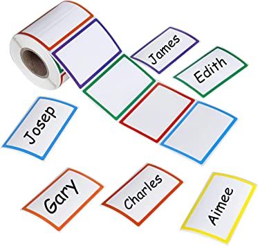 500 Colorful Name Tag Self-Adhesive Labels  Stickers School Office Camps Party