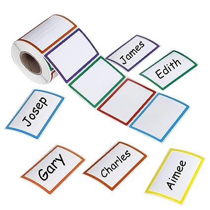 Amazon com : Plain Name Tag Sticker 500pcs Colorful Large