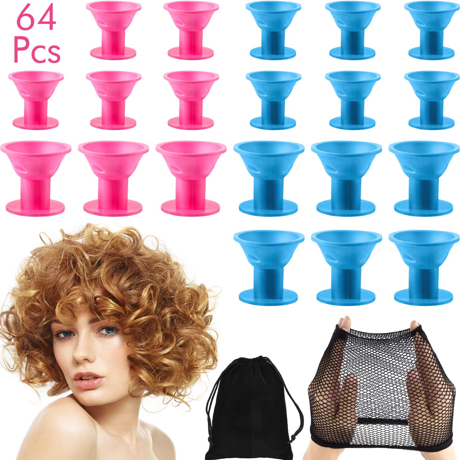 64 Pieces Silicone Hair Curlers Set, 30 Pieces Large Silicone Hair Rollers and 30 Pieces Small Silicone Hair Rollers with Net Cap and Storage Bag by Chinco