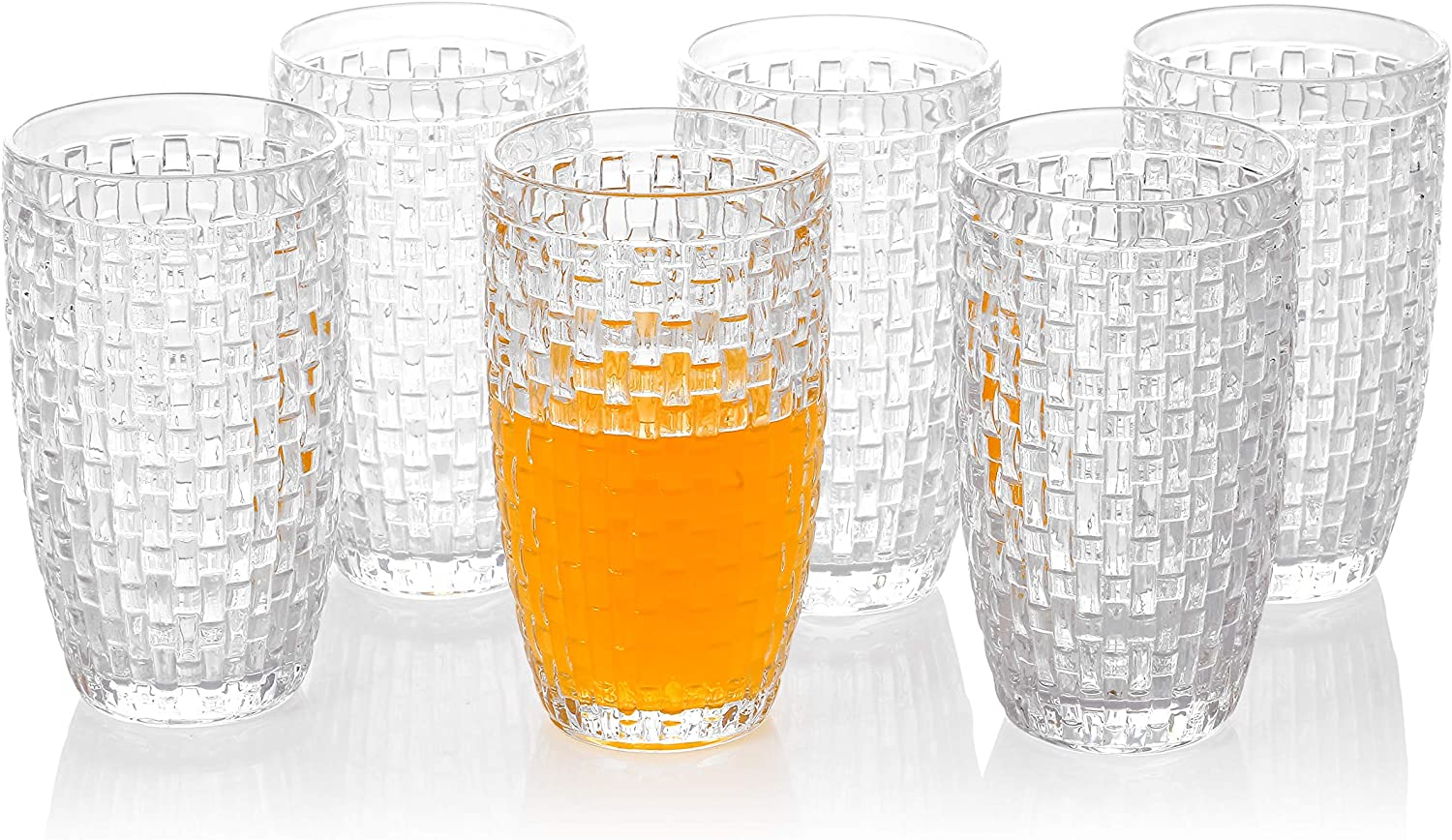 Omita Highball Glasses Set of 6 Clear 12 oz Vintage Embossed Tall Drink-ware Iced Beverage Jucie Beer Milk Cup Perfect for Dinner Parties Bars Restaurants Everyday Use