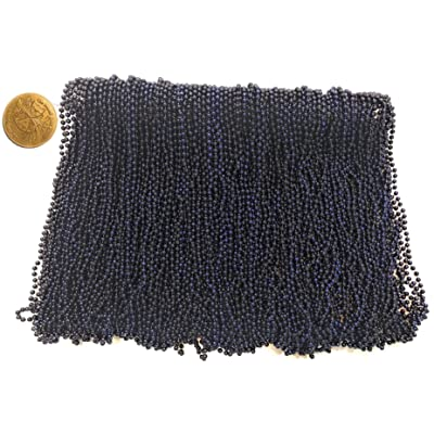 Mardi Gras Beads 33 inch 7mm, 12 Dozen, 144 Pieces, Navy Blue Necklaces with Doubloon: Toys & Games