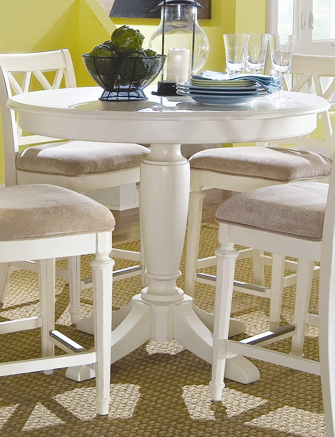 White Counter Height Table Part - 41: Amazon.com: American Drew Camden Round Counter Height Pedestal Table In  Buttermilk: Home U0026 Kitchen