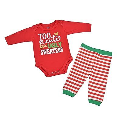 155d81e070021 Amazon.com  Unique Baby Girls Ugly Sweater Christmas Layette Set ...