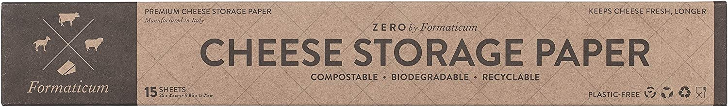 Formaticum Zero Cheese Storage Paper, Compostable, Biodegradable, and Plastic-Free Paper to Keep Cheese and Charcuterie Fresh, 9 x 13 Inches, 15 Total Sheets (1 Box)
