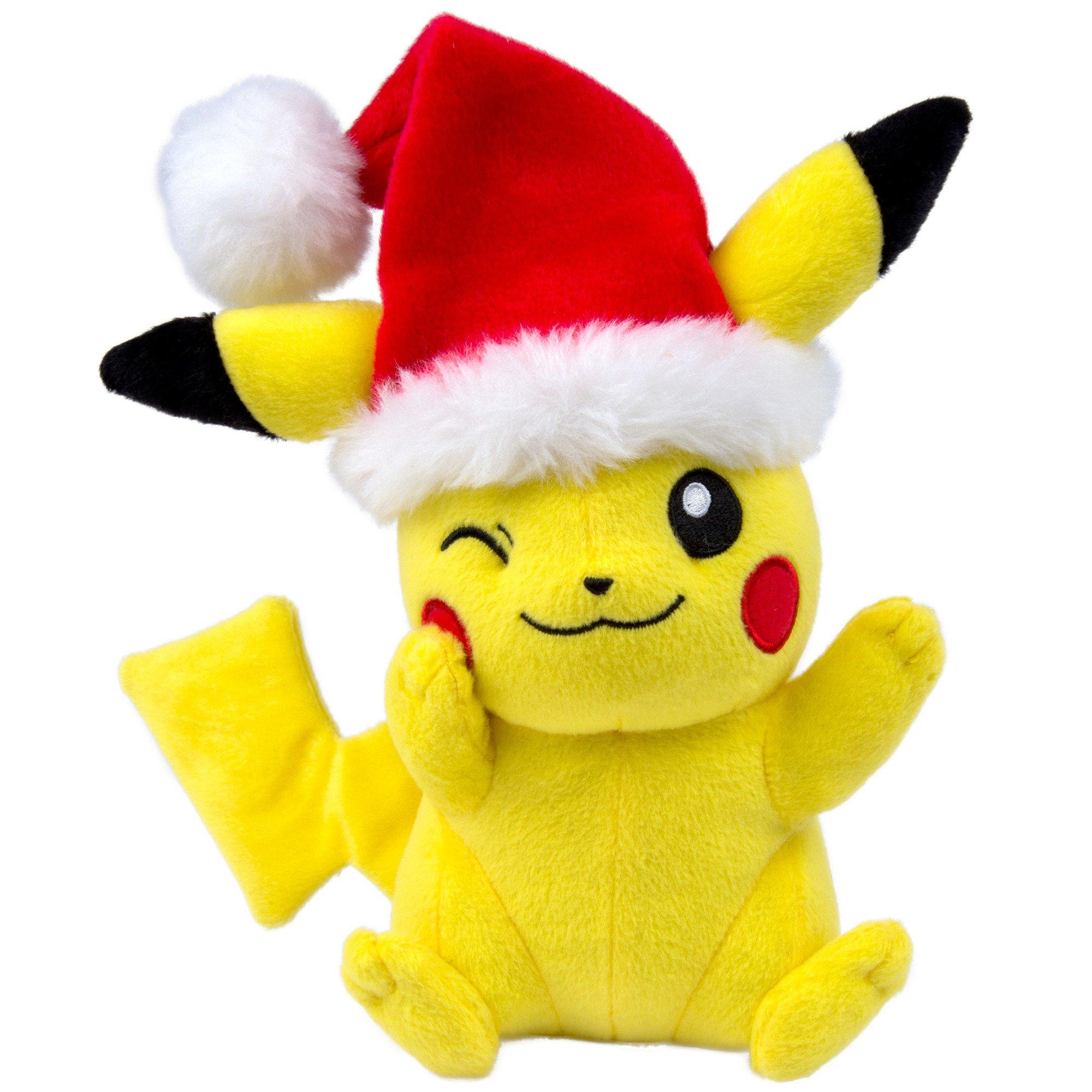 TOMY Pokémon Small Plush, Pikachu with Santa Hat Plush by TOMY