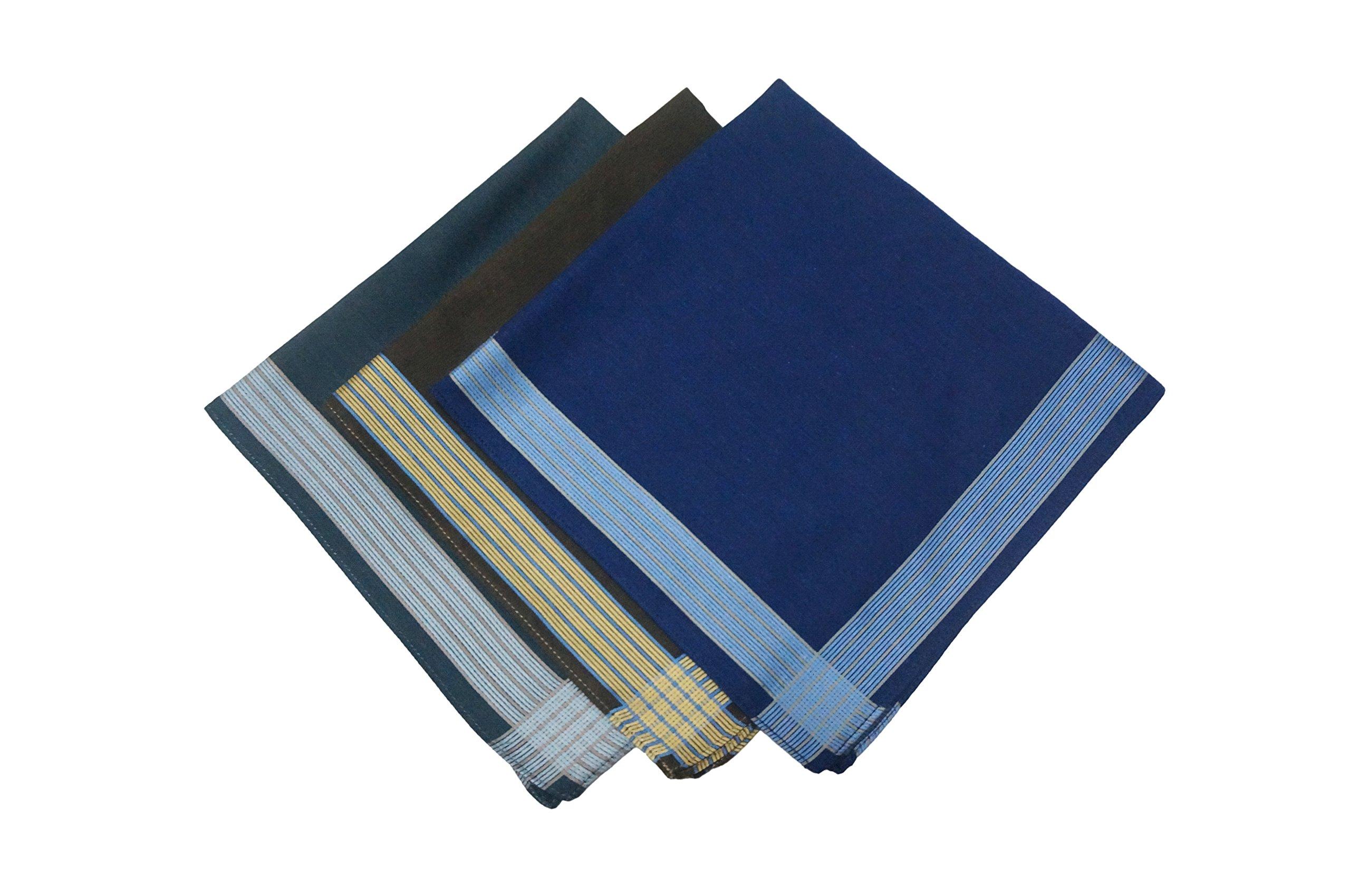 KINGDESON Men's Elegent Checkered Cotton Hankie Hankerchiefs gift set 6pcs