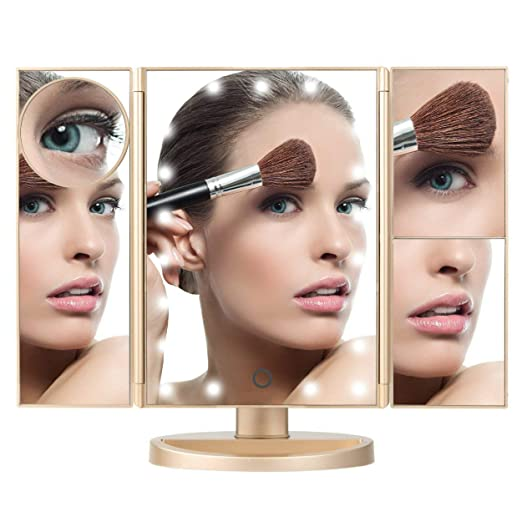 Amigoplus Lighted Makeup Vanity Mirror - 21 Natural LED Lights, Magnifying Touch Screen, USB and Battery Operated, Large Rotating Countertop Cosmetic Mirror for Bathroom, Dresser, Desk (Gold)