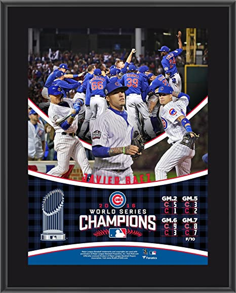 c80effcb1 Javier Baez Chicago Cubs 2016 MLB World Series Champions 10.5 quot  x  13 quot  Sublimated Plaque