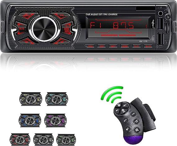 LSLYA Coche Stereo Retroiluminación de 7 colores Llamadas manos libres Bluetooth Radio FM Reproductor de MP3 compatible con control remoto del volante ...