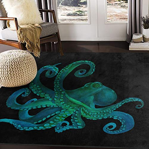 ALAZA Watercolor Octopus Abstract Black Area Rug Rugs