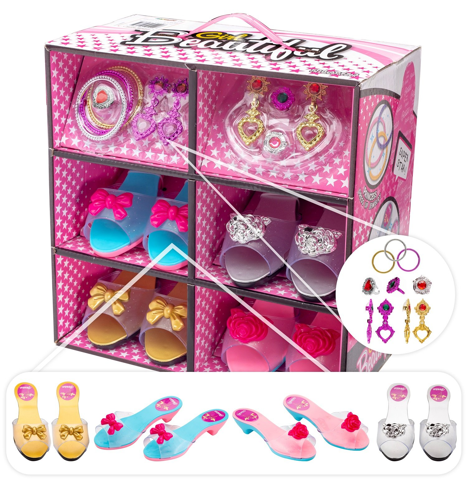 Shoes and Jewelry Boutique – Little Girl Princess Play Gift Set with 4 Pairs of Shoes, Collection of earrings, bracelets rings – Great for Dress Up & Group Play – Recommended Ages 3+