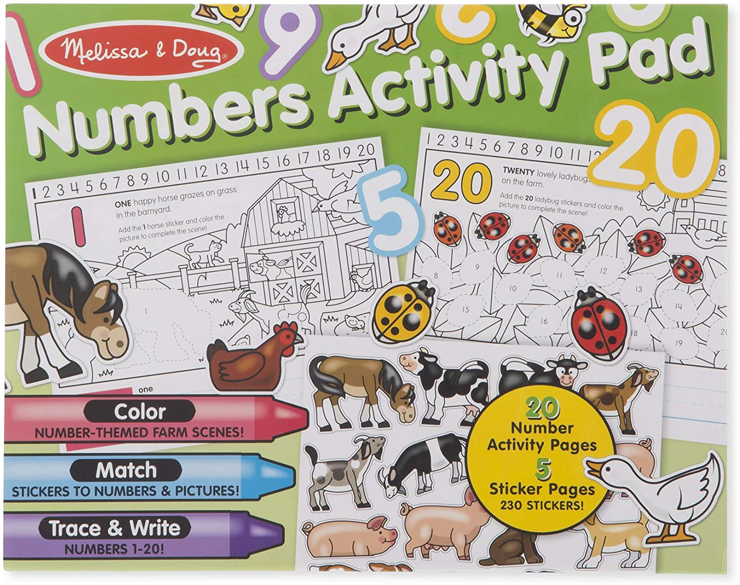 Melissa /& Doug Numbers Coloring and Sticker Activity Pad Melissa and Doug 8566