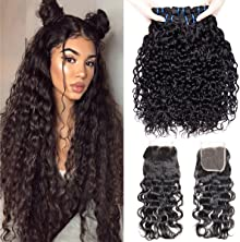 VIPbeauty Hair Bundles with Closure Water Wave Indian Virgin Hair Bundle with Free Part Closure 14 16 18 with 12 Inch