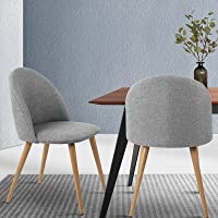 Artiss Fabric Upholstery Dining Chairs Set of 2 - Light Grey