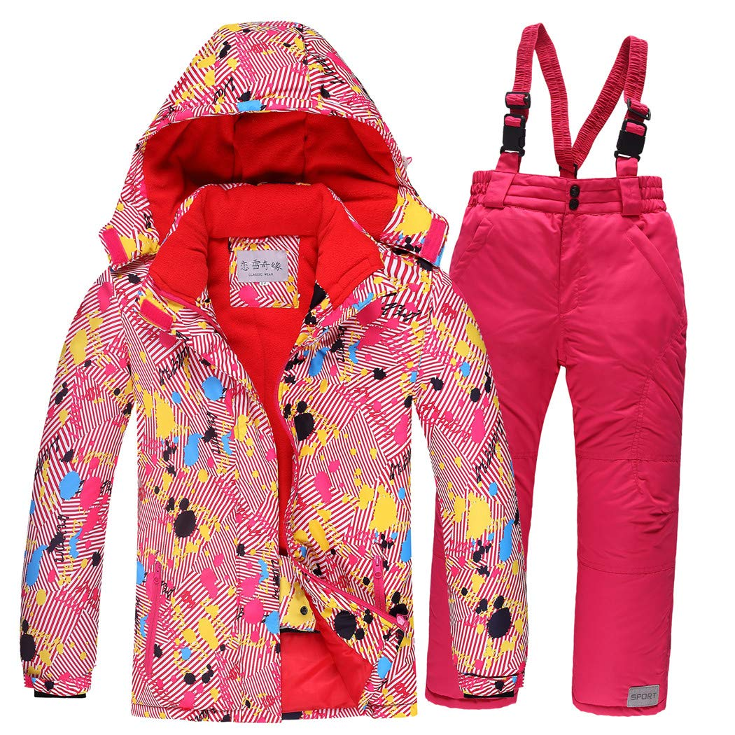 Warm Girls Clothing Set Jacket + Overalls Boys Clothes Set Snow Suits Children Suit Windproof 5