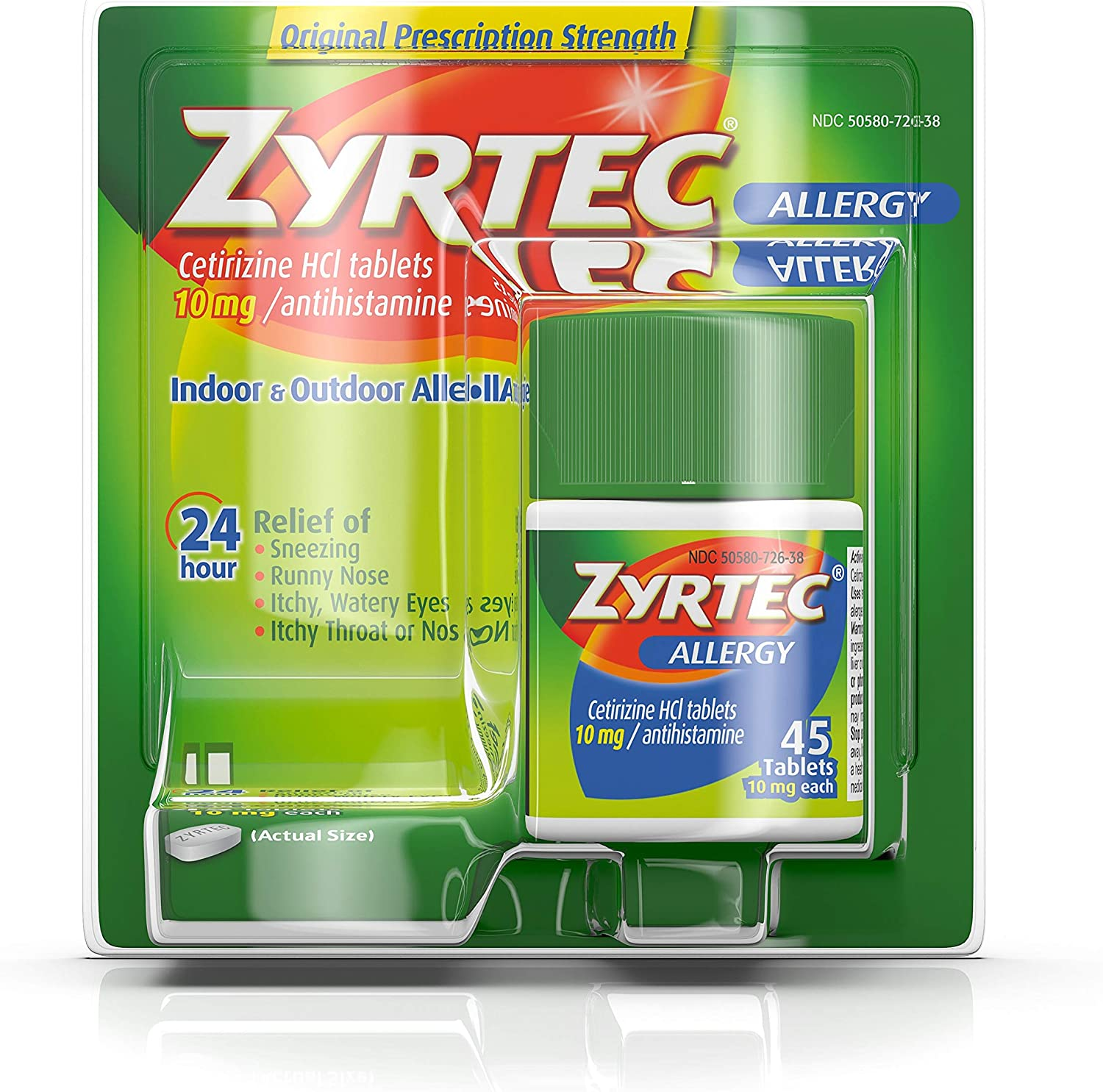 Zyrtec 24 Hour Allergy Relief Tablets, 10 mg Cetirizine HCl Antihistamine Allergy Medicine, 45 ct: Health & Personal Care