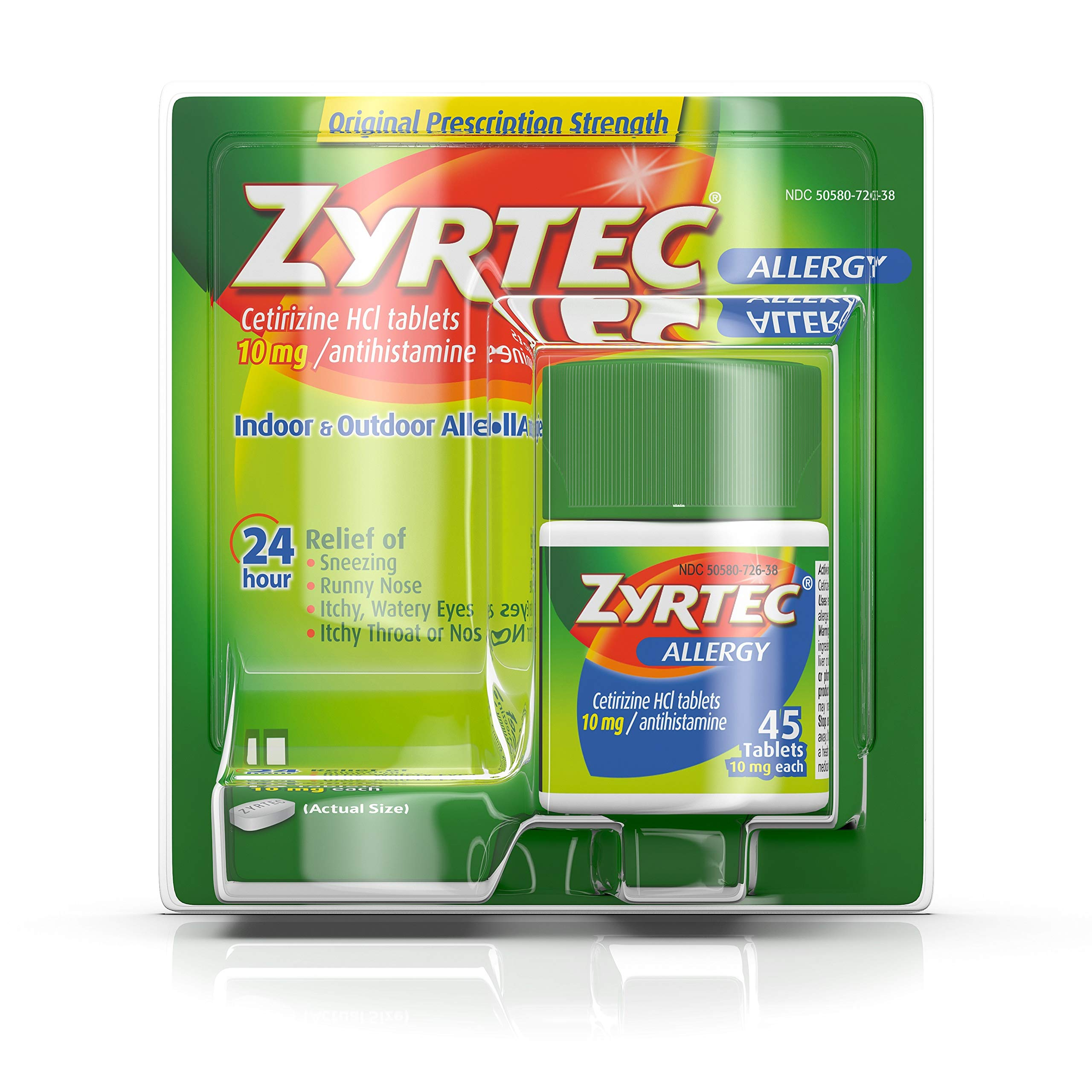Zyrtec 24 Hour Allergy Relief Tablets, 10 mg Cetirizine HCl Antihistamine Allergy Medicine, 45 ct by Zyrtec