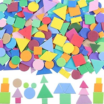NEWCOMDIGI 150-160 Pieces Assorted Colors Foam Geometry Stickers Mini Self-Adhesive EVA Foam Stickers with a Drawing Pencil and Scissors for Children DIY Arts and Crafts (Circle, Square, Triangle): Toys & Games
