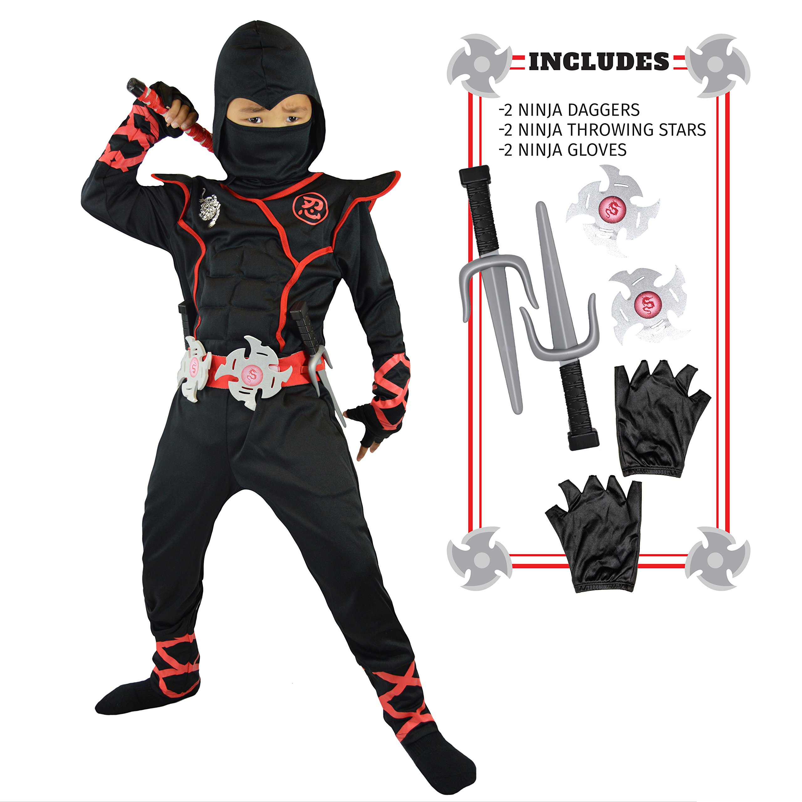 Spooktacular Creations Boys Ninja Deluxe Costume for Kids with Ninja Daggers and Throwing Stars (M 8-10) by Spooktacular Creations