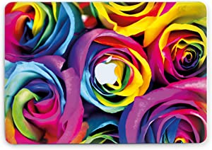 Colorful Roses Hard Shell for Apple MacBook Rainbow Durable Shell Protective Cover Floral Sleeves Multicolored Flowers Plastic Case (MacBook Air 11, Clear Bottom)
