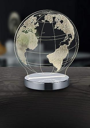 Reality Globo Lampada Da Tavolo Led Mondo Con Variazione Luce Da Cala A Fredda Integriert 7 W Cromo 12 X 17 5 X 20 Cm Metallo Amazon It Illuminazione