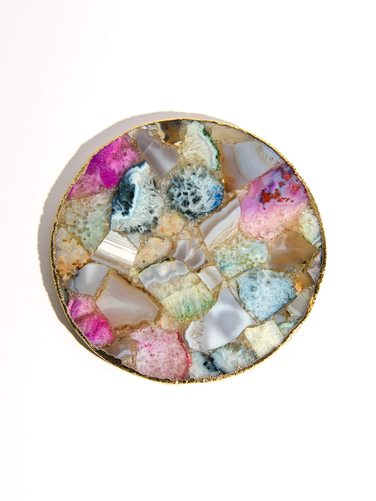 Best Home Fashion Mixed Agate Tray - MIXAGATE - 9.25'' Dia.