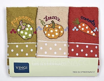 Vingi Set 3 Strofinacci da Cucina Art. Infinity, Spugna 100% Cotone, Misura  47 x 70 Colori Verde Mattone e Beige