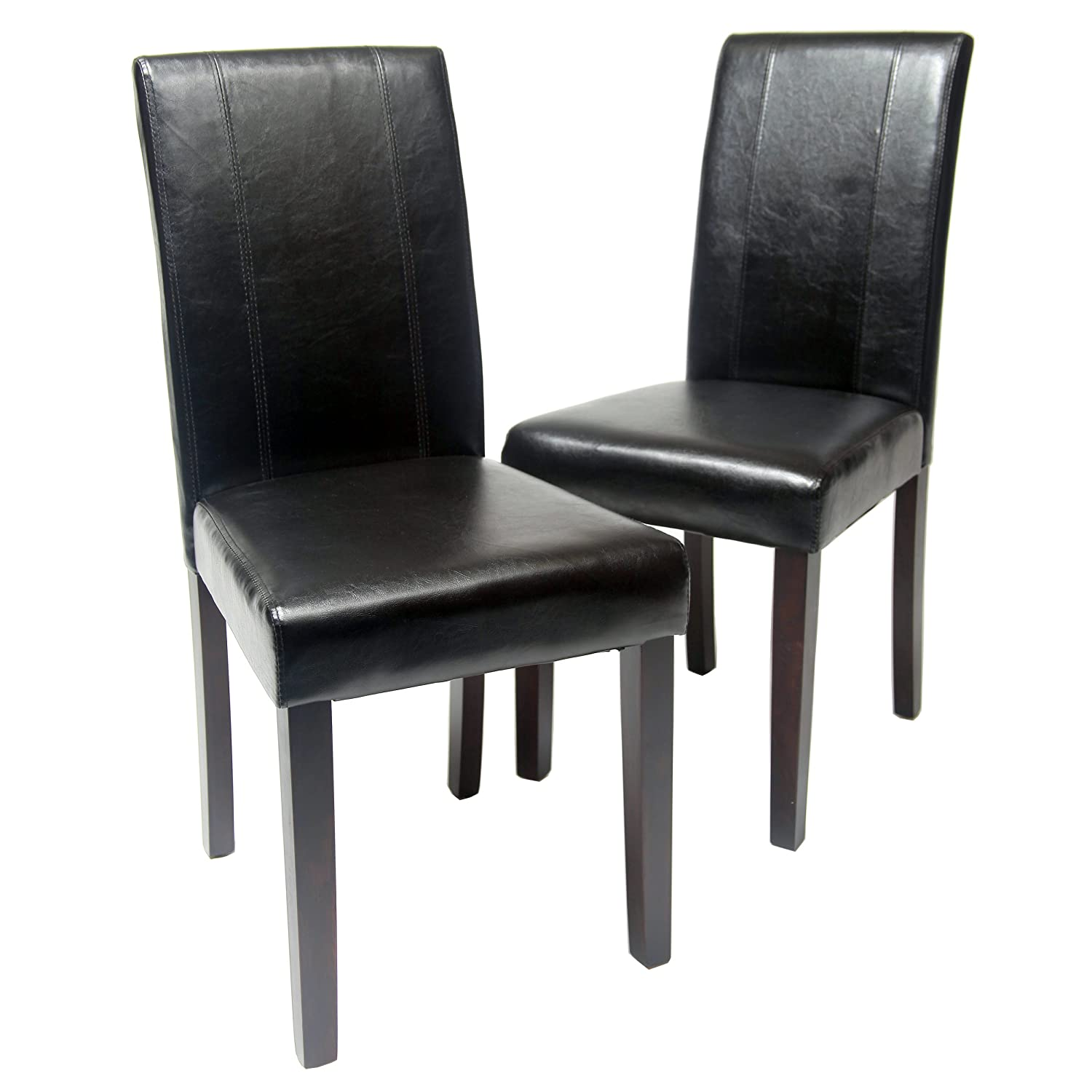 Amazon.com: Roundhill Furniture Urban Style Solid Wood Leatherette Padded  Parson Chair, Black, Set Of 2: Kitchen U0026 Dining