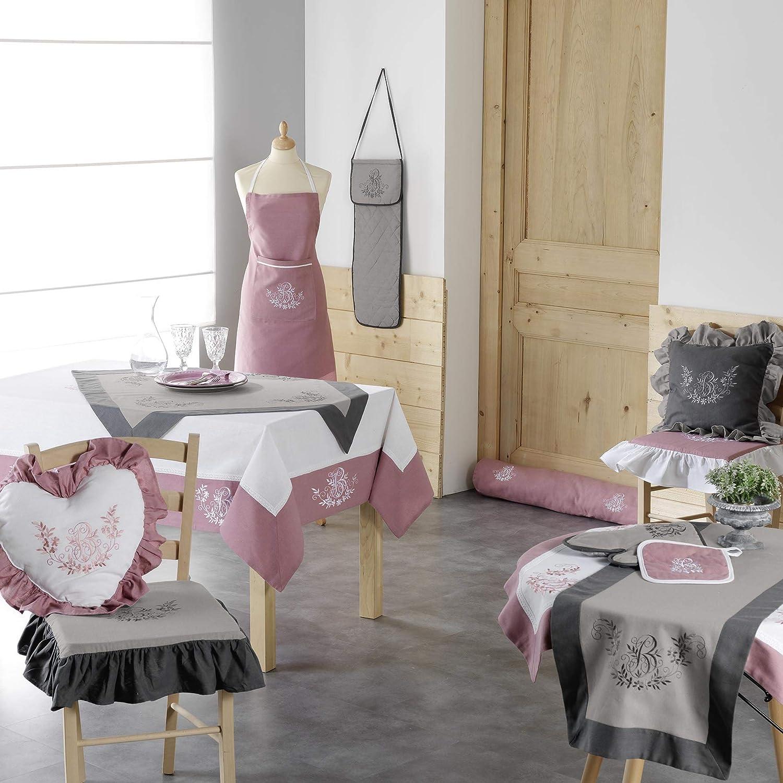 charme /& douceur gant+manique 19x28cm//18x18cm bonheur rose//blanc