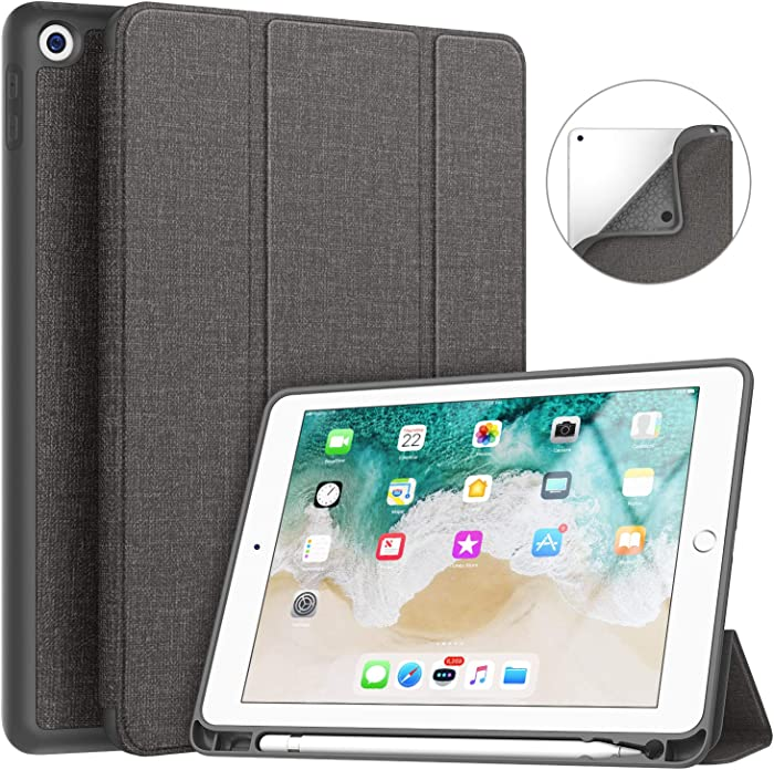 New iPad 9.7 2018/2017 Case with Pencil Holder, Soke Smart iPad Case Trifold Stand with Shockproof Soft TPU Back Cover and Auto Sleep/Wake Function for iPad 9.7 inch 5th/6th Generation, Dark Grey