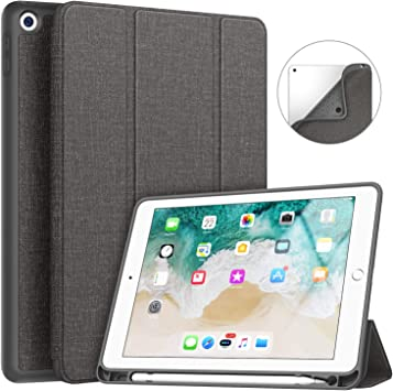 Amazon Com Soke Ipad 9 7 2018 2017 Case With Pencil Holder Smart Ipad Case Trifold Stand With Shockproof Soft Tpu Back Cover And Auto Sleep Wake Function For Ipad 9 7 Inch 5th 6th Generation Dark Grey