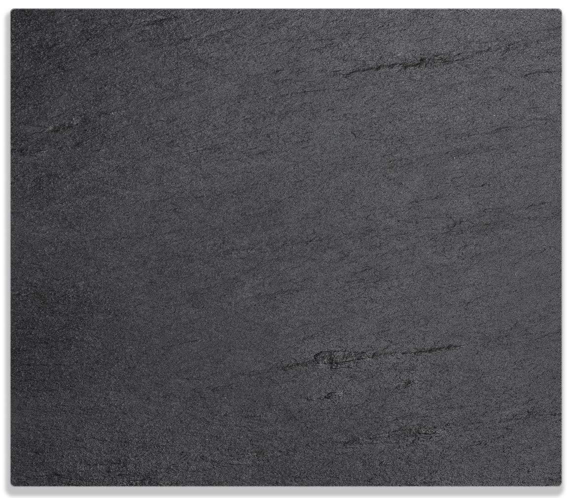 Wallario Herdabdeckplatte/Spitzschutz aus Glas, 1-teilig, 60x52cm, für Ceran- und Induktionsherde, Schwarze Schiefertafel Optik – Steintafel posterdepot