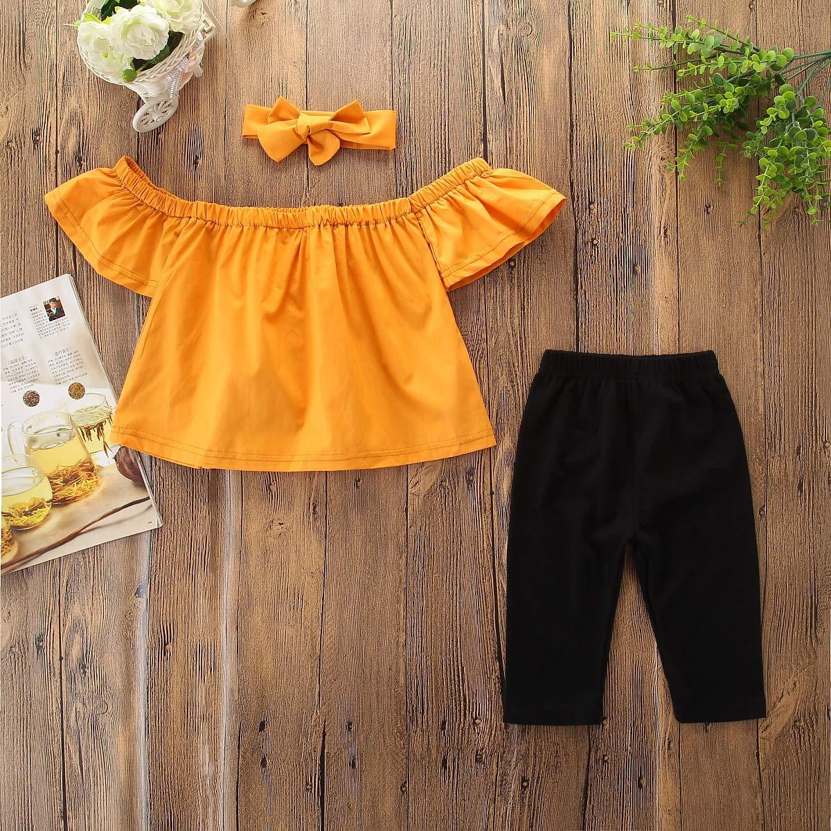 3PCS Baby Girl Off Shoulder Tube Top Shirt+Black Long Pants Casual Clothing