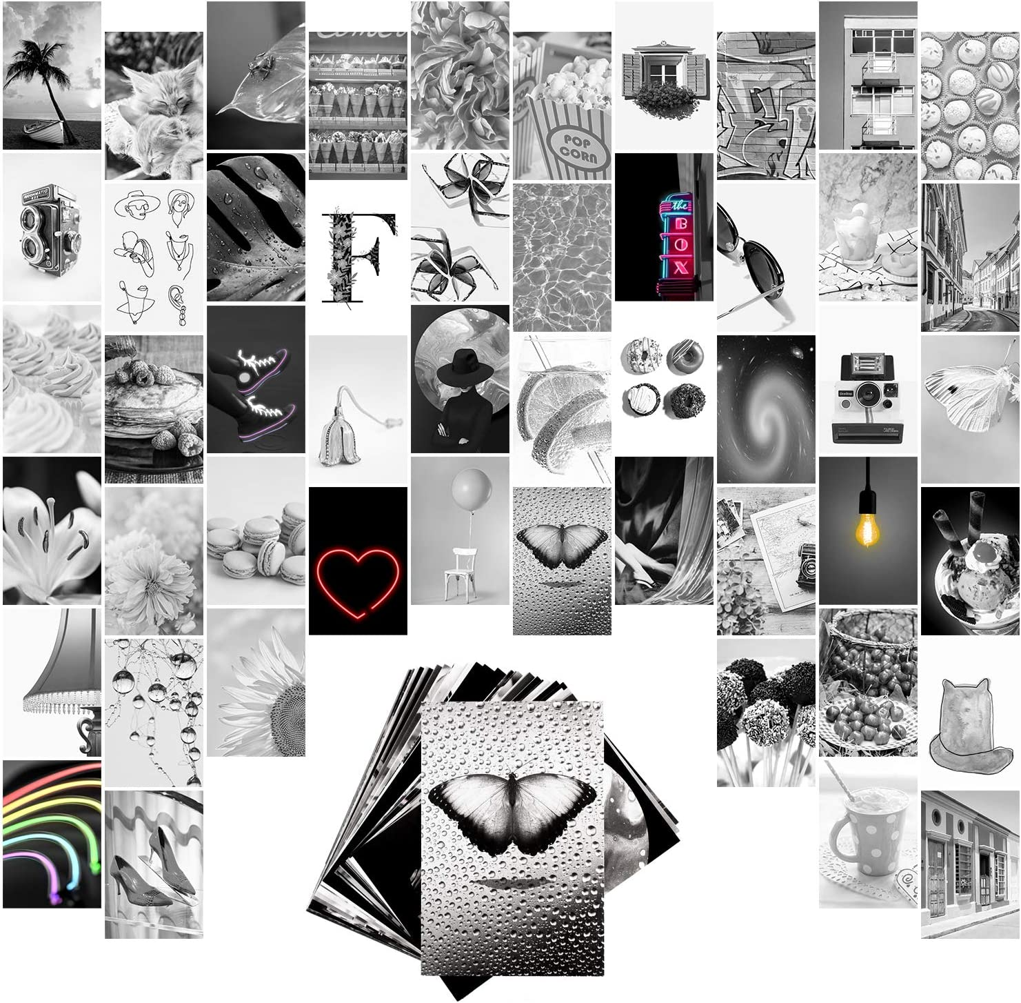 WOOBEE Black and White Wall Collage Kit Indie Bedroom Decor 50 Aesthetic Pictures, Teen Room VSCO Art Posters 4x6 inch Dorm Photo Collection