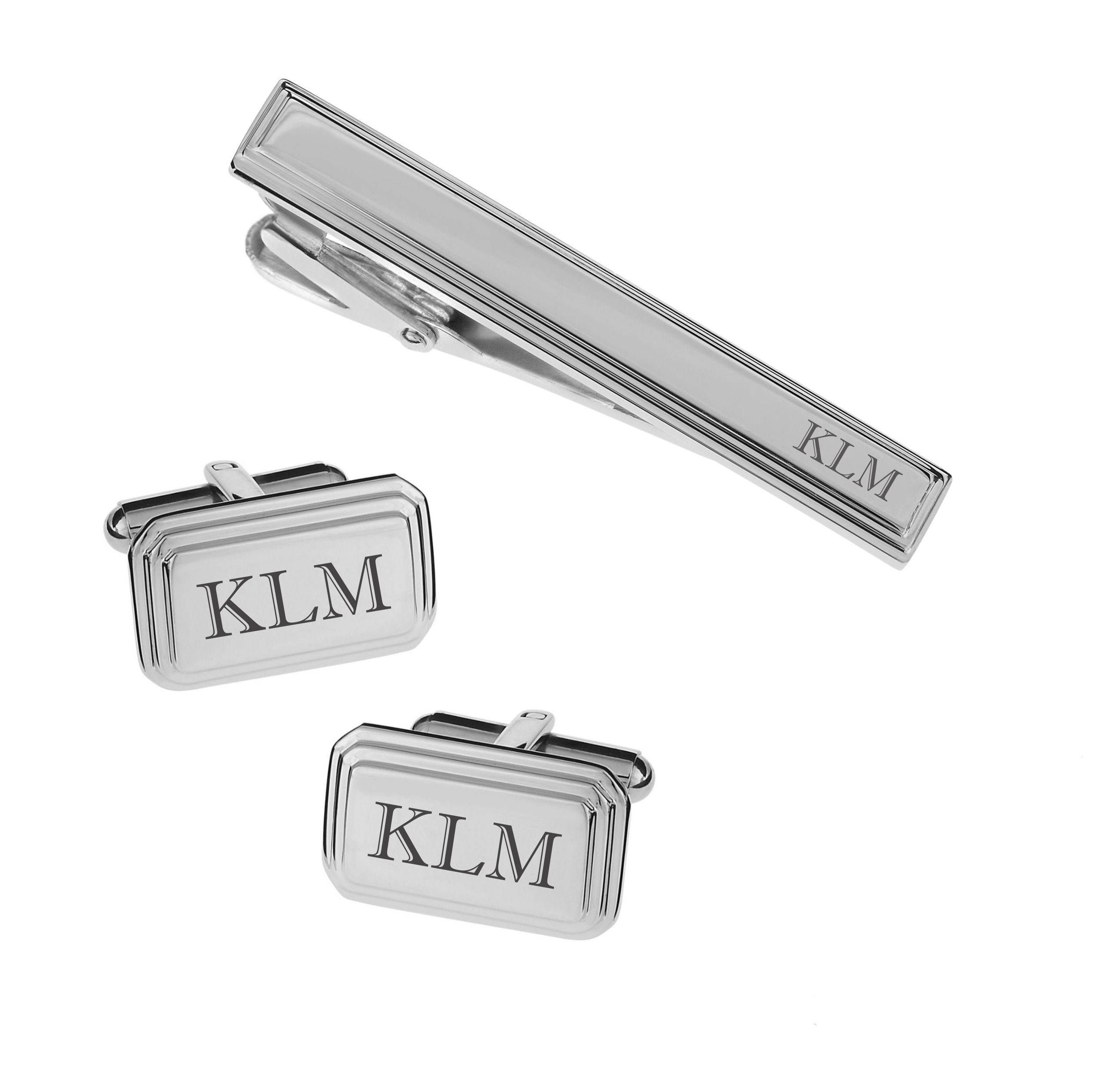Personalized High Polished Silver Beveled Stainless Steel Cufflinks & Tie Clip Set Engraved Free