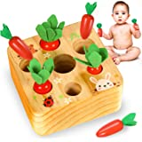 YOFUN Montessori Toysfor Toddler- Carrot Harvest Wooden Matching Puzzle, Shape & Size Sorting Games for Developing Fine Mot
