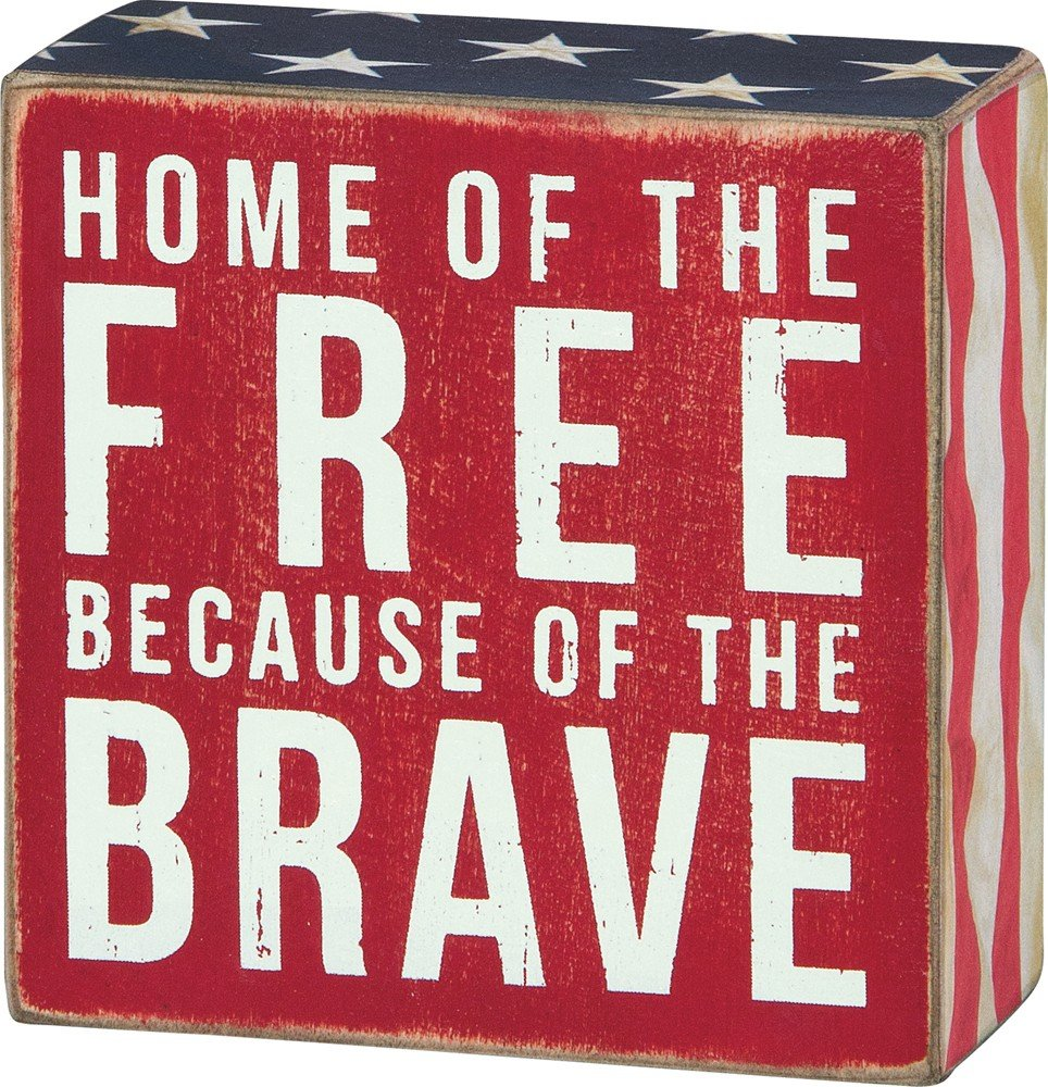 Primitives by Kathy Patriotic Box Sign, 4 x 4, Home