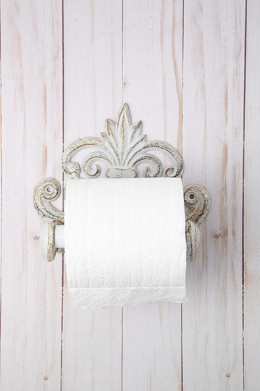 Silber mit Schrauben und D/übeln Europ/äisches Vintage Design Gusseisen Wand-Toilettenpapierhalter Comfify Fleur De Lis Toilettenpapierhalter aus Gusseisen 6,75 x 6,25 x 4,25