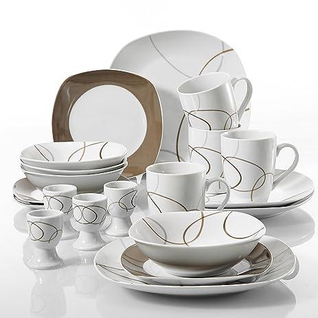 VEWEET u0027NIKITAu0027 20-Piece Ivory White Porcelain Brown Lines Dinnerware Combi-Set  sc 1 st  Amazon.com & Amazon.com | VEWEET u0027NIKITAu0027 20-Piece Ivory White Porcelain Brown ...