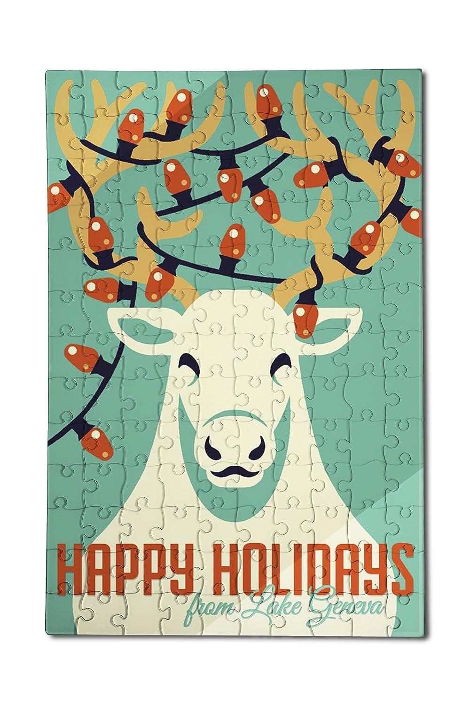 公式の  ジュネーブ湖、ウィスコンシン – Happy Holidays – x トナカイ – レトロクリスマス(12 Happy B076PT992K x 18プレミアムアクリルパズル、130ピース) B076PT992K, カフカ:1aa2fac0 --- a0267596.xsph.ru