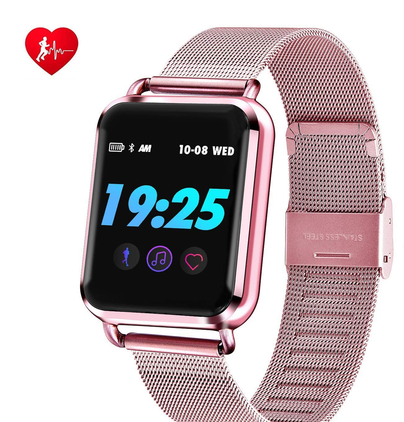 Smartwatch Women, BoensWaterproof Bluetooth Smart Color Screen Dynamic Blood Oxygen Pressure Pedometer Fitness Tracker Heart Rate for iPhone Samsung Android- Rose Gold