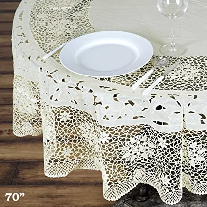 BalsaCircle 70 Inch Ivory Round Vinyl Tablecloth With Crochet Lace Table  Linens Wedding Party Events