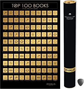 100 Books Scratch off Poster with Scratcher - Easy to Frame 24x16