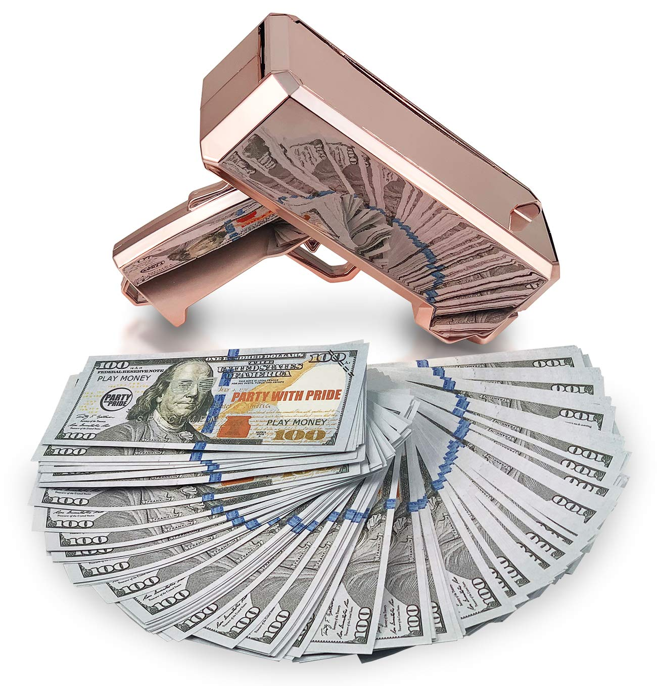 Party With Pride Money Gun, Real Electroplated Chrome Rose Gold, Rainmaker Handheld Cash Gun, Fake Bill Dispenser, Money Shooter (Rose Gold No Logo) by Party With Pride