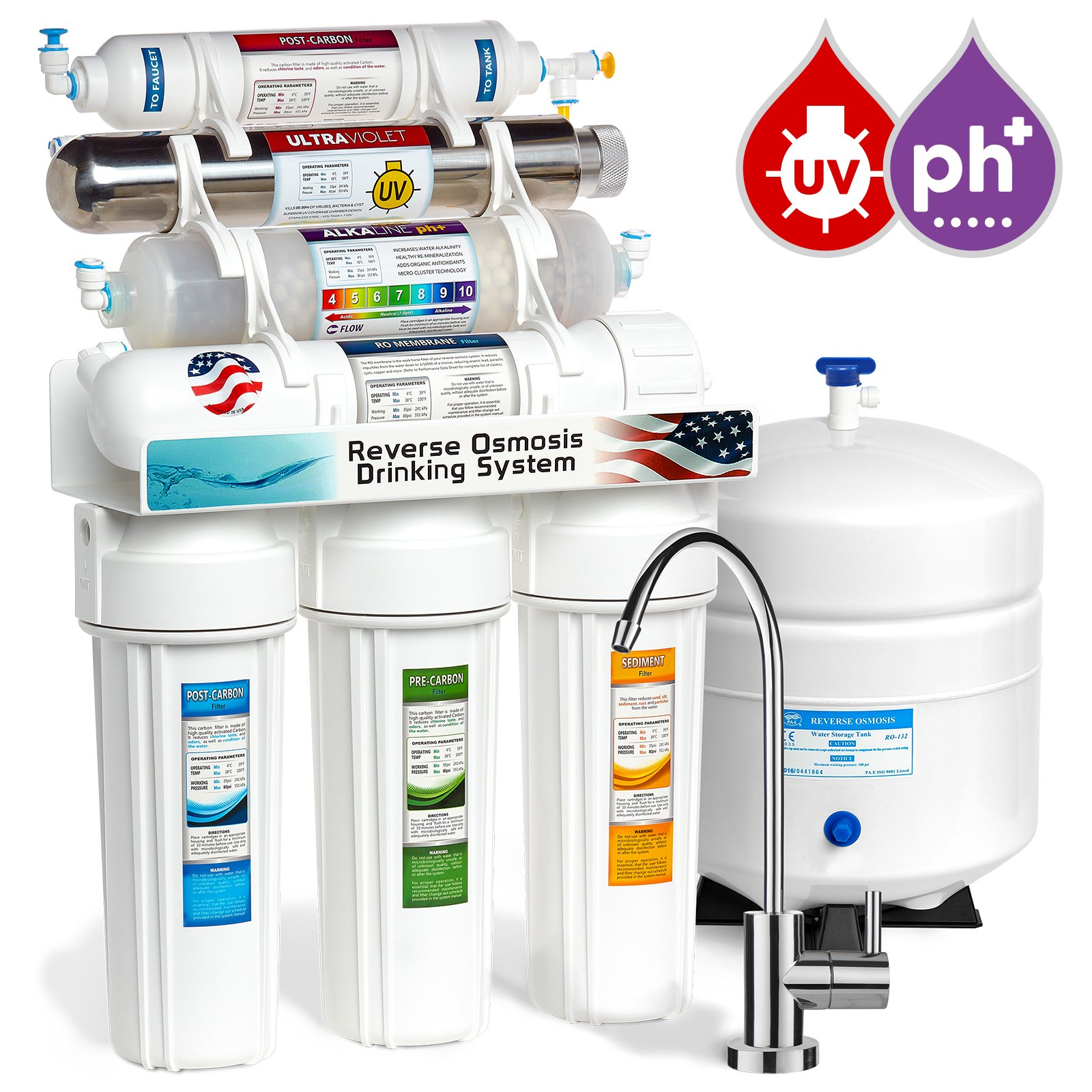 Express Water Alkaline Ultraviolet Reverse Osmosis Water Filtration System - 11 Stage RO UV Mineralizing Alkaline Purifier with Faucet and Tank - Under Sink Filter Mineral, pH + Antioxidant - 100 GDP by Express Water
