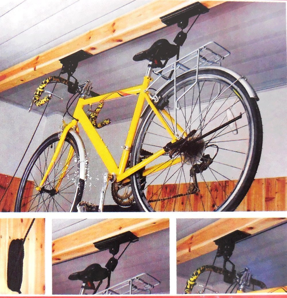 Bike Lift Ceiling Mounts Bicycle Garage Hoist Mounted Storage Rack